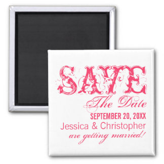 Grunge Typography Save the Date Magnet, Hot Pink Square Magnet