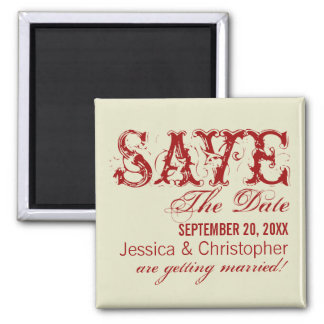Grunge Typography Save the Date Magnet, Red Square Magnet