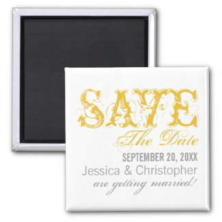 Grunge Typography Save the Date Magnet, Yellow Square Magnet