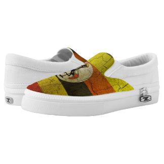Grunge Uganda Flag Slip-On Shoes