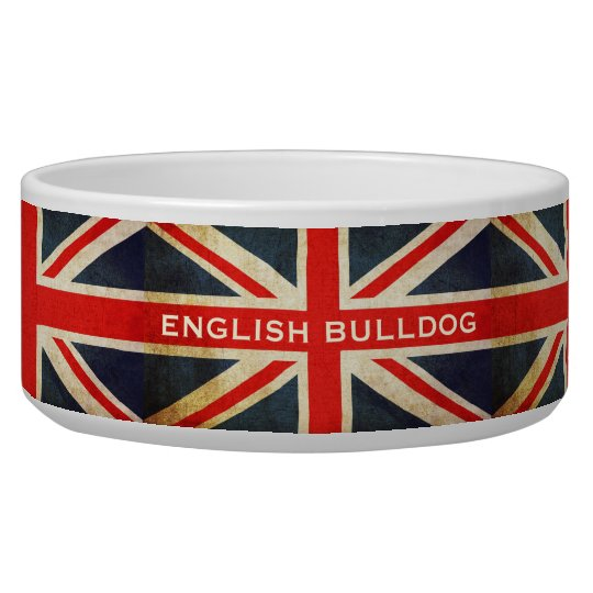 Grunge UK Flag Union Jack Custom Pet Bowl