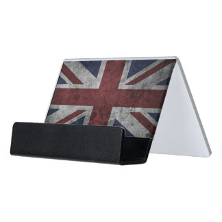 Grunge Uk National Flag Desk Business Card Holder