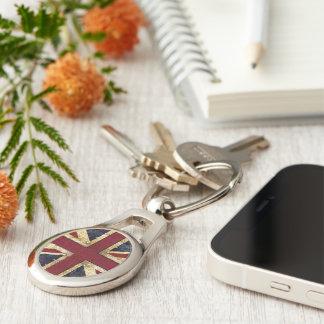 Grunge UK Union jack Silver-Colored Oval Key Ring