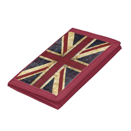 grunge union jack british flag trifold wallet