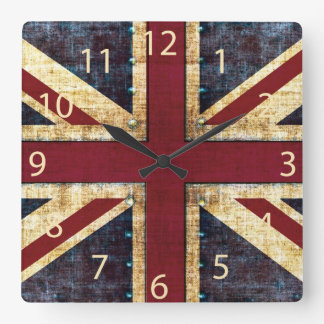 Grunge Union Jack - classic - vintage look Square Wall Clock