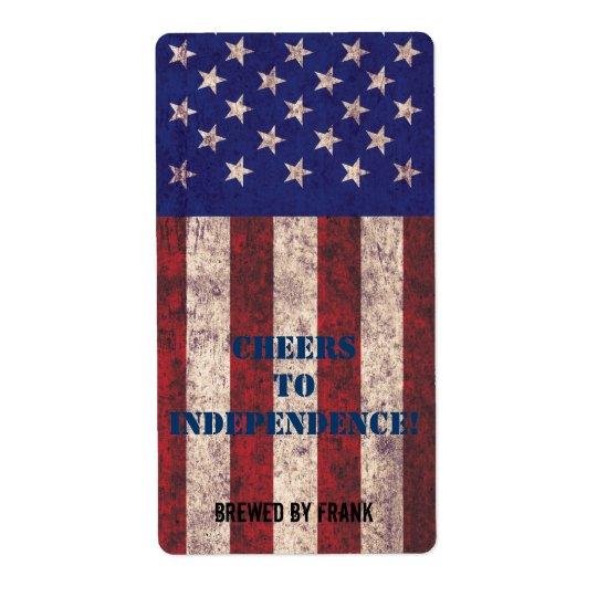 Grunge USA flag beer bottle label Shipping Label