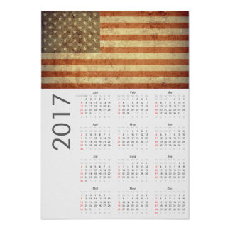 Grunge USA Flag Calendar 2017 Poster