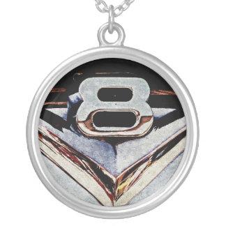 Grunge V8 Big Block Emblem Silver Plated Necklace