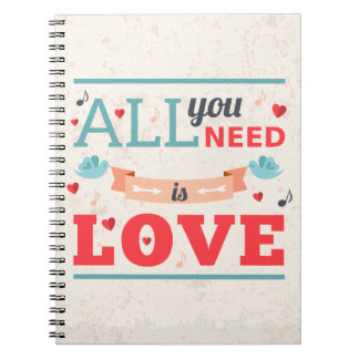 Grunge Valentines day colorful design Spiral Notebook
