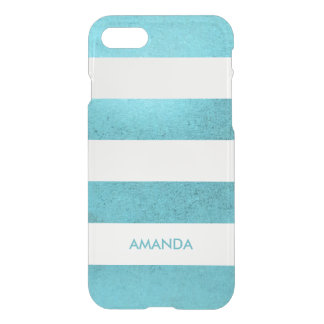 Grunge vintage blue teal white Stripe your name iPhone 8/7 Case