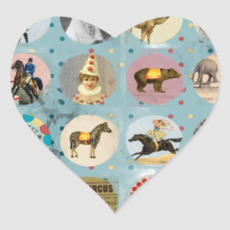 grunge vintage circus performers zoo animals blue heart sticker