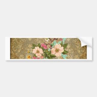 grunge vintage damask floral bird victorian brown bumper sticker