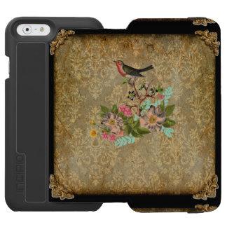 grunge vintage damask floral bird victorian brown incipio watson™ iPhone 6 wallet case