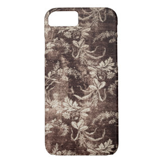 Grunge vintage floral pattern in dark brown iPhone 8/7 case