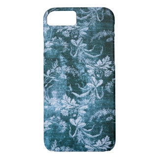 Grunge vintage floral pattern in icy blue iPhone 8/7 case