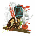 grunge vintage microphone vector cut out