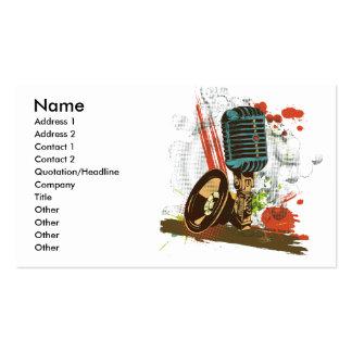 grunge vintage microphone vector pack of standard business cards
