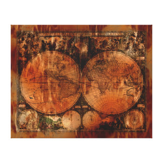 Grunge Vintage Old World Map Designer Canvas Prints