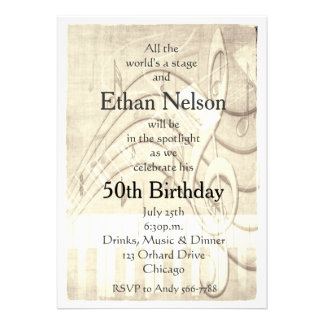Grunge Vintage Piano Guitar Music Party Invites Announcement