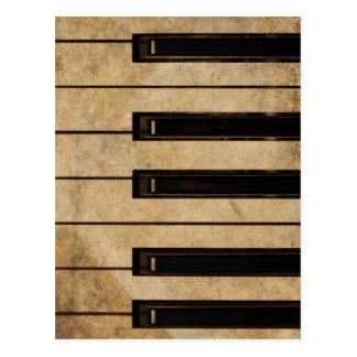 Grunge vintage piano postcard