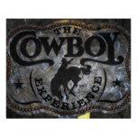 grunge vintage rustic western country cowboy rodeo poster