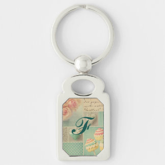 grunge vintage shabby chic teal pink collage roses key chain