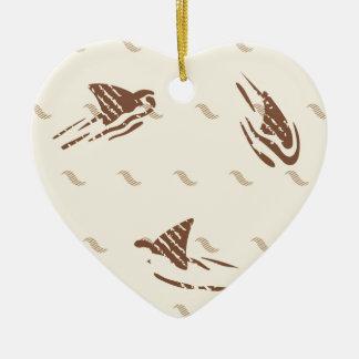 Grunge Vintage sharks 3 fins Ceramic Heart Decoration