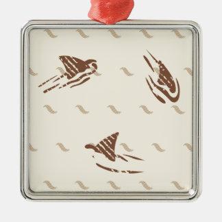 Grunge Vintage sharks 3 fins Silver-Colored Square Decoration
