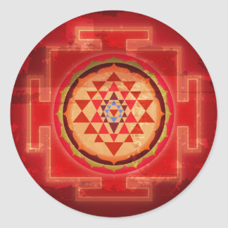 Grunge Vintage Shree Yantra Round Sticker