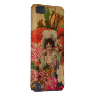 Grunge Vintage Woman Flower Collage iPod Touch (5th Generation) Covers