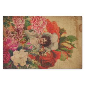 Grunge Vintage Woman Flower Collage Tissue Paper