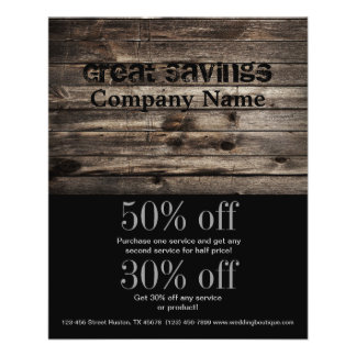 grunge vintage wood grain construction business 11.5 cm x 14 cm flyer