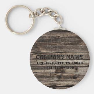 grunge vintage wood grain construction business basic round button key ring