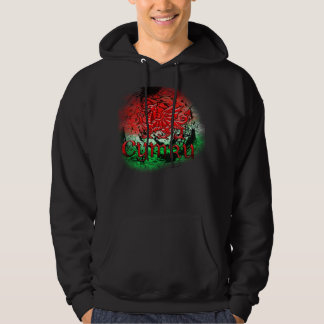 Grunge Welsh Hoodie With Dragon And Cymru