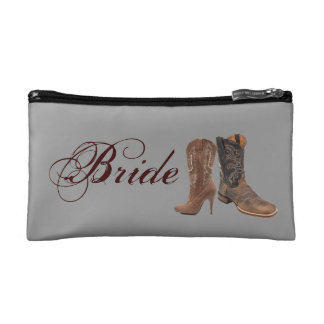 Grunge western country cowboy wedding bride makeup bag