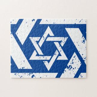 Grunge White Star of David Jigsaw Puzzle