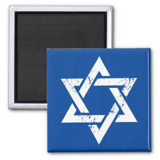 Grunge White Star of David Magnet