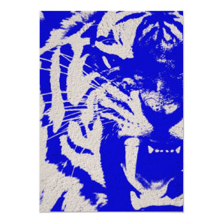 grunge wild animal abstract blue vintage Tiger Card