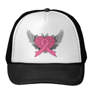 Grunge Winged Heart - Breast Cancer Mesh Hat