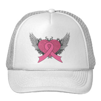 Grunge Winged Heart - Breast Cancer Hat