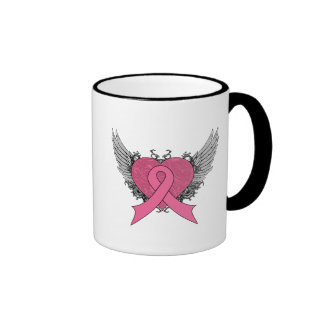 Grunge Winged Heart - Breast Cancer Mugs