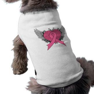 Grunge Winged Heart - Breast Cancer Sleeveless Dog Shirt