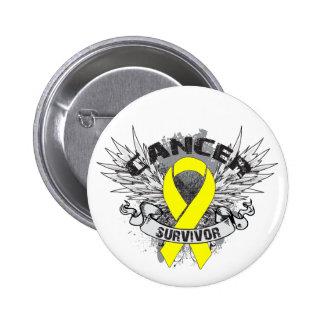 Grunge Winged Ribbon Bladder Cancer Survivor 6 Cm Round Badge
