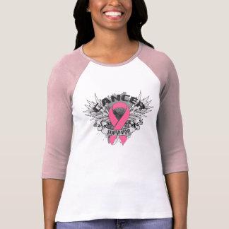 Grunge Winged Ribbon Breast Cancer Survivor T Shirt