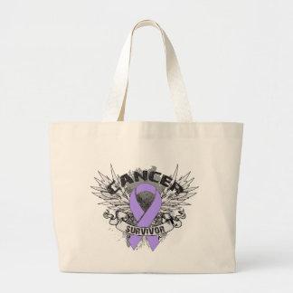 Grunge Winged Ribbon Cancer Survivor Jumbo Tote Bag