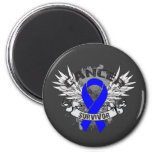 Grunge Winged Ribbon Colon Cancer Survivor 6 Cm Round Magnet