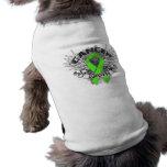 Grunge Winged Ribbon Lymphoma Survivor Pet Shirt