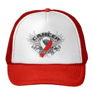 Grunge Winged Ribbon Oral Cancer Survivor Trucker Hat