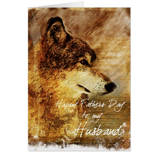 Grunge Wolf Husbands Father's Day Card