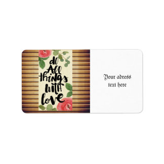 Grunge wood wall,floral, text,roses,vintage,rustic address label